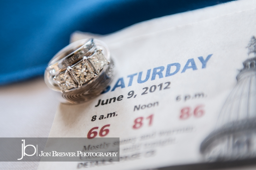 Wedding rings in front of newspaper
